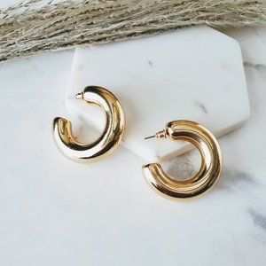 5 for $25 Gold Color Wide Hollow Hoop Earrings
